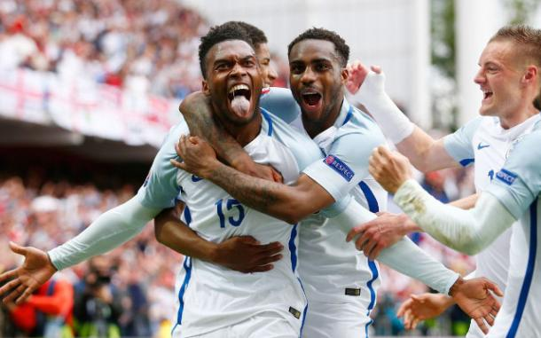 Daniel Sturridge celebrates his last minute winner for England against Wales (photo: Getty Images)