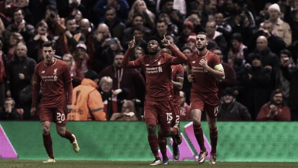 Daniel Sturridge celebrates scoring against Manchester United in the Europa League | Photo: 90min.com