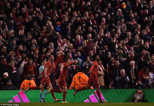 Liverpool's fans and players celebrate Daniel Sturridge's opener against United (photo: Getty Images)
