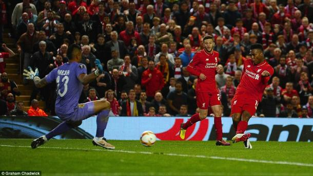 Sturridge, pictured scoring against Villarreal, unsurprisingly starts in the final (photo: Graham Chadwick)