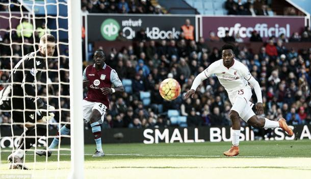 Sturridge scores for Liverpool against Villa (photo: getty)
