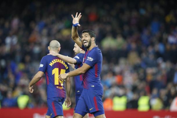 El uruguayo celebrando el 2-0 / Foto: FC Barcelona