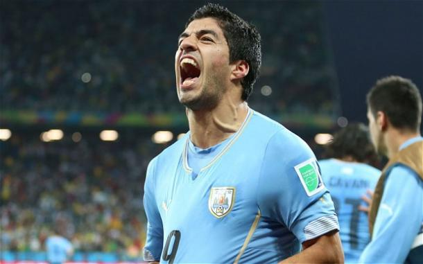 Luis Suárez celebra un gol con Uruguay