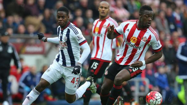Younes Kaboul and Lamine Kone defending at home to West Brom (Image source: Sky Sports)