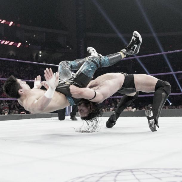 Neville's strength was on display. Photo- WWE.com