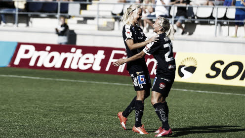 Linköpings' Pernille Harder and Vera Dyatel celebrate scoring in the 2014-15 Final. http://svenskfotboll.se/