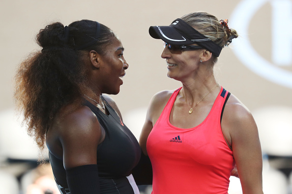 A nice embrace at the net between Williams and Lucic-Baroni (Photo by Pat Scala / Getty Images)