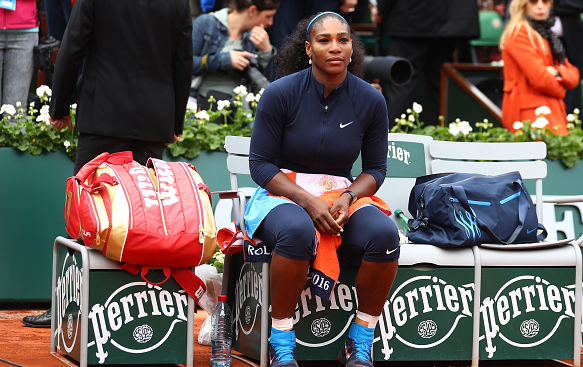 Serena looks on shortly after being beaten by Muguruza at Roland Garros. | Photo: Getty