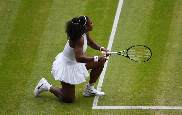 Serena reacts after hitting another unforced error in an action-packed first set.   Photo: GEtty