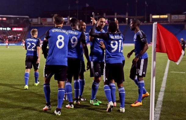 The San Jose Earthquakes players celebrating Alberto Quíntero's goal on Saturday against FC Dallas at Toyota Stadium. Photo provided by USA TODAY Sports.