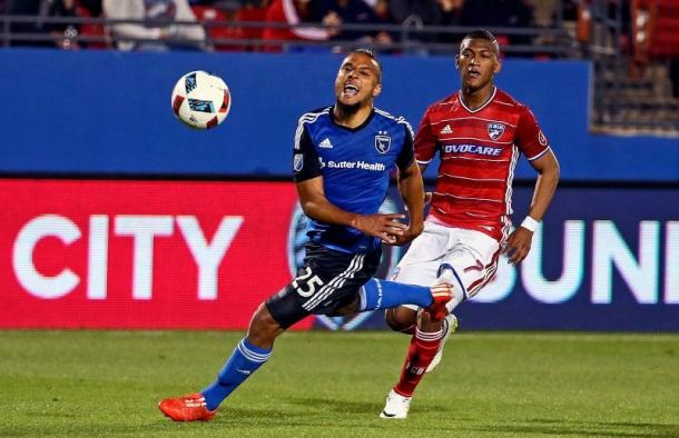 San Jose's Quincy Amarikwa (Center) finished the game with two assists against Dallas. Photo provided by USA TODAY Sports.