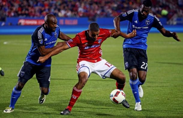 San Jose Earthquakes' defenders surrounding and attempting to steal the ball from FC Dallas' Tesho Akindele on Saturday. Photo provided by USA TODAY Sports. -