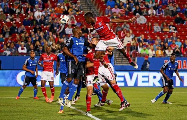 FC Dallas defender Maynor Figueroa (Center) going in for a thunderous header. Photo provided by USA TODAY Sports.