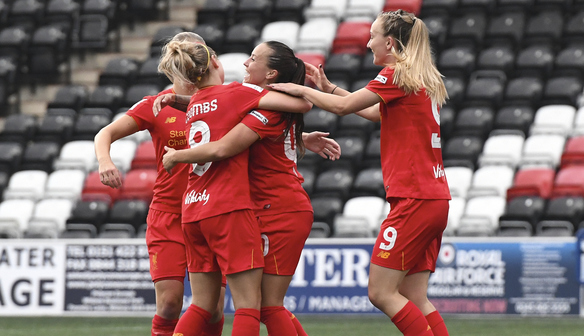 The Liverpool players celebrating Harding's goal last weekend | Photo: WSL