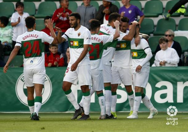 El equipo celebra un gol frente al Tenerife | Fuente: La Liga