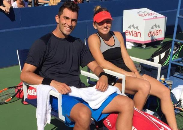 Horia Tecau and Simona Halep at the 2015 U.S. Open. | Photo via Halep's Twitter
