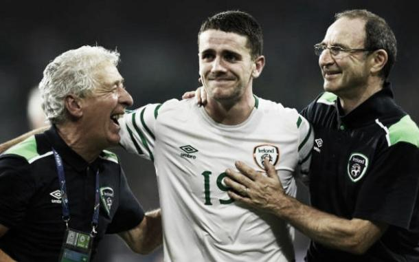 Ireland's players and staff have been full of pride since reaching the knockout stages. (Photo: Telegraph)