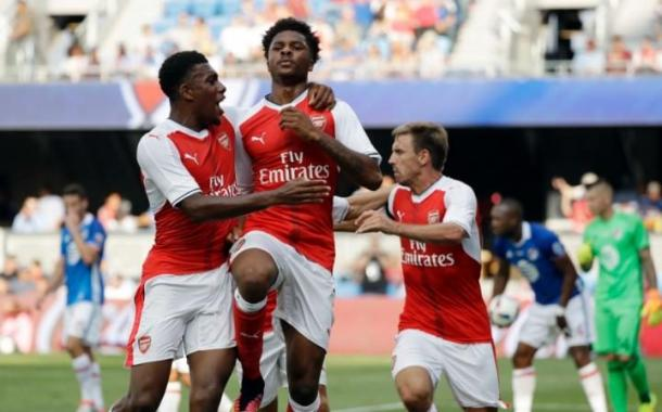 Akpom celebrates against the MLS All-Stars. | Source: Telegraph