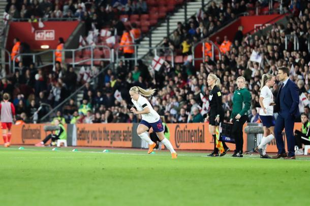 Beth Mead makes her England senior debut | Credit: Kunjan Malde
