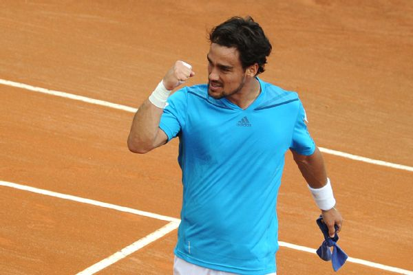 Fabio Fognini celebrates his upset of Andy Murray in Davis Cup play. (Mario LaPorta/AFP/Getty Images)