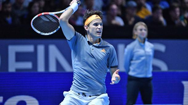 Thiem plays a forehand at the ATP Finals/Photo: Tennis TV