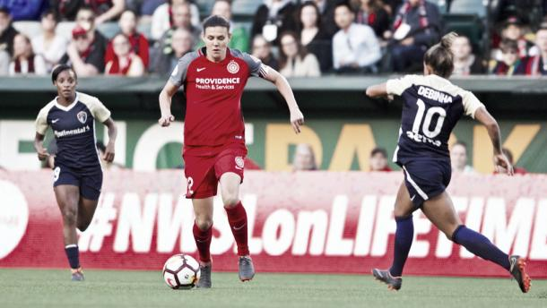 Christine Sinclair with the Portland Thorns at Providence Park in Portland, OR on May 30, 2018 | Photo: Portland Thorns fC