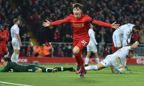 Woodburn, en su estreno goleador con el primer equipo. Foto: Liverpool
