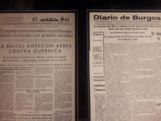 Titulares de El Sol y El Diario de Burgos tras el ataque de Gernika | Museo de la Paz de Gernika