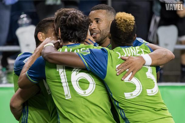 It all came together in the end for the tested Sounders, as Morris' goal sealed the 2-0 win | Photo: Brandon Farris/VAVEL USA