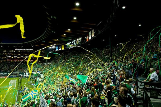 This is only a portion of the Timbers Army in action at Providence Park. Photo provided by Craig Mitchelldyer.