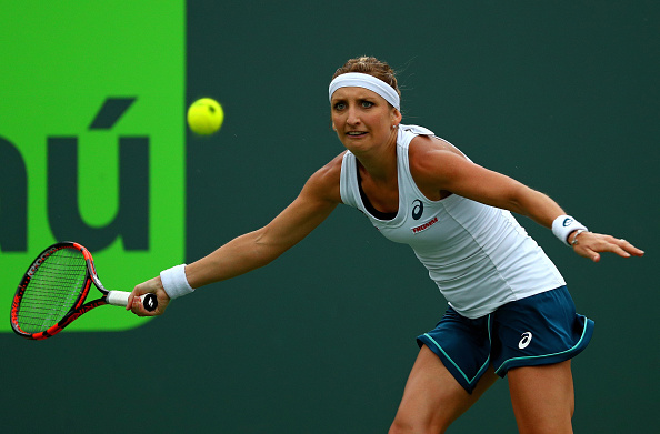 Timea Bacsinszky Fought Her Way Back Into The Match. Photo: Mike Ehrmann/Getty Images