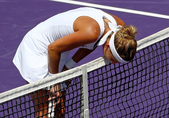 Timea Bacsinszky Showed Her Disappointment During The Match. Photo: Mike Ehrmann/Getty Images