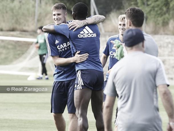 Dwamena, Vigaray y Blanco durante un entrenamiento | Foto: Real Zaragoza