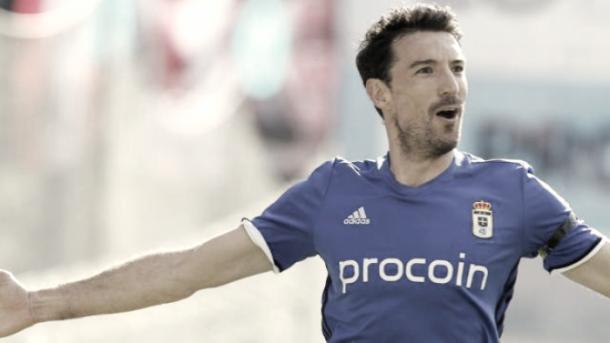 Toché celebra un gol con el Oviedo. Foto: LaLiga
