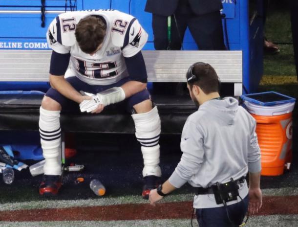 Tom Brady tras el fumble en la Super Bowl LII contra los Eagles / Foto: Twitter.com