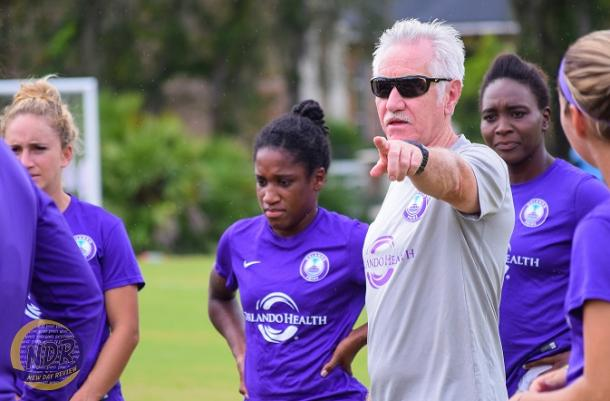 Orlando Pride head coach Tom Sermanni points during a training session at Sylvan Lake Park on Friday, Sept. 9, 2016. (Photo by Victor Tan / New Day Review)