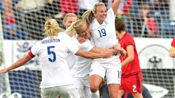 Toni Duggan (Center) and her teammates celebrating her goal against Germany on Sunday-Photo provided by Getty Images.