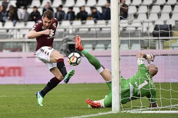 Il tap-in vincente di Belotti per l'1-0 - Foto Torino FC