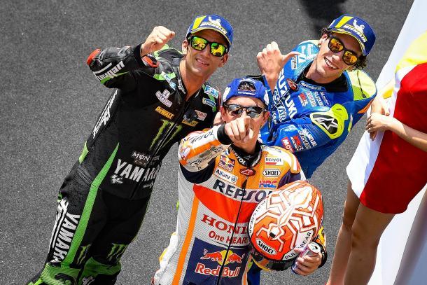 Márquez, Rins y Zarco en el GP de Malasia 2018. | Fuente: MotoGP