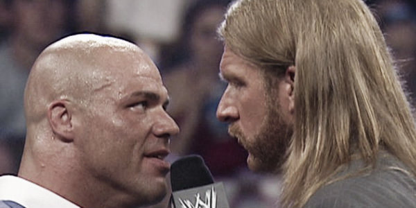 Kurt Angle said he had a conversation with Triple H several weeks ago - prompting rumours of a imminent return (image: whatculture.com)