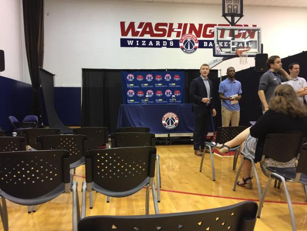 The press conference table awaits the storm. Photo: Raj Sawhney