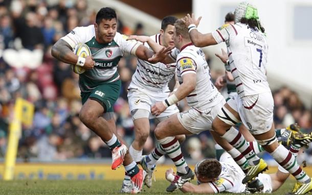 Tigers' Manu Tuilagi is a welcome return to the Leicester side this weekend, (image via telegraph)