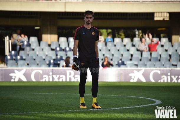 Jokin Ezkieta nunca se ha hecho con la portería del Barça B / Foto: Noelia Déniz (VAVEL.com)