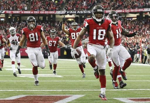 Taylor Gabriel (#18) scored two touchdowns in the rout of the Arizona Cardinals. (Source: Associated Press)