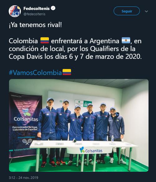 Argentina, el rival al que Colombia enfrentará en un nuevo repechaje para entrar a las finales de la Copa Davis. Imagen: @fedecoltenis