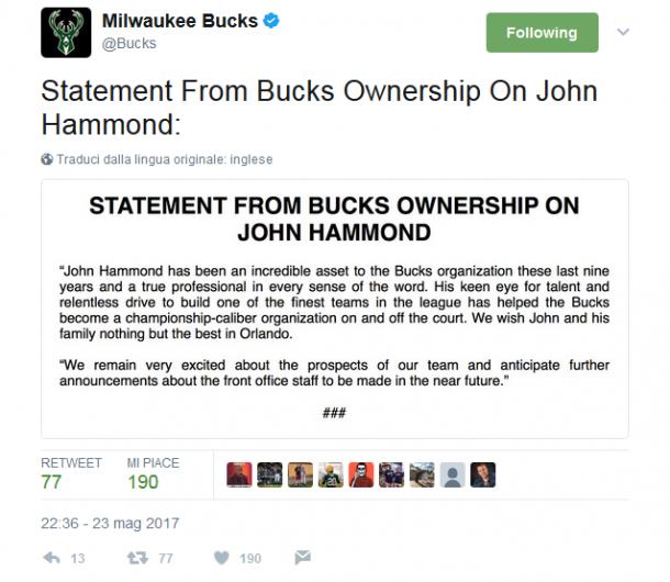 Il tweet dei Milwaukee Bucks. Fonte Immagine: Twitter.com/bucks