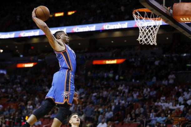 Russell Westbrook going strong to the hoop as he always does. Photo: Steve Mitchell/USA TODAY Sports