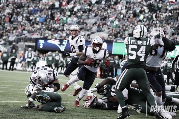 Sony Michel acumula 5 TDs en su temporada rookie | Foto: Patriots.com