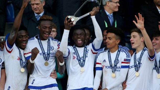 Via NBC Sports - Chelsea lift the UEFA Youth League trophy for a second consecutive time.
