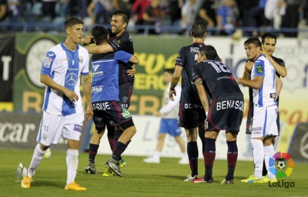Decepção pelo lado Leganés e alegria pelo Huesca no resultado mais surpreendente da rodada (Foto: Divulgação/La Liga)